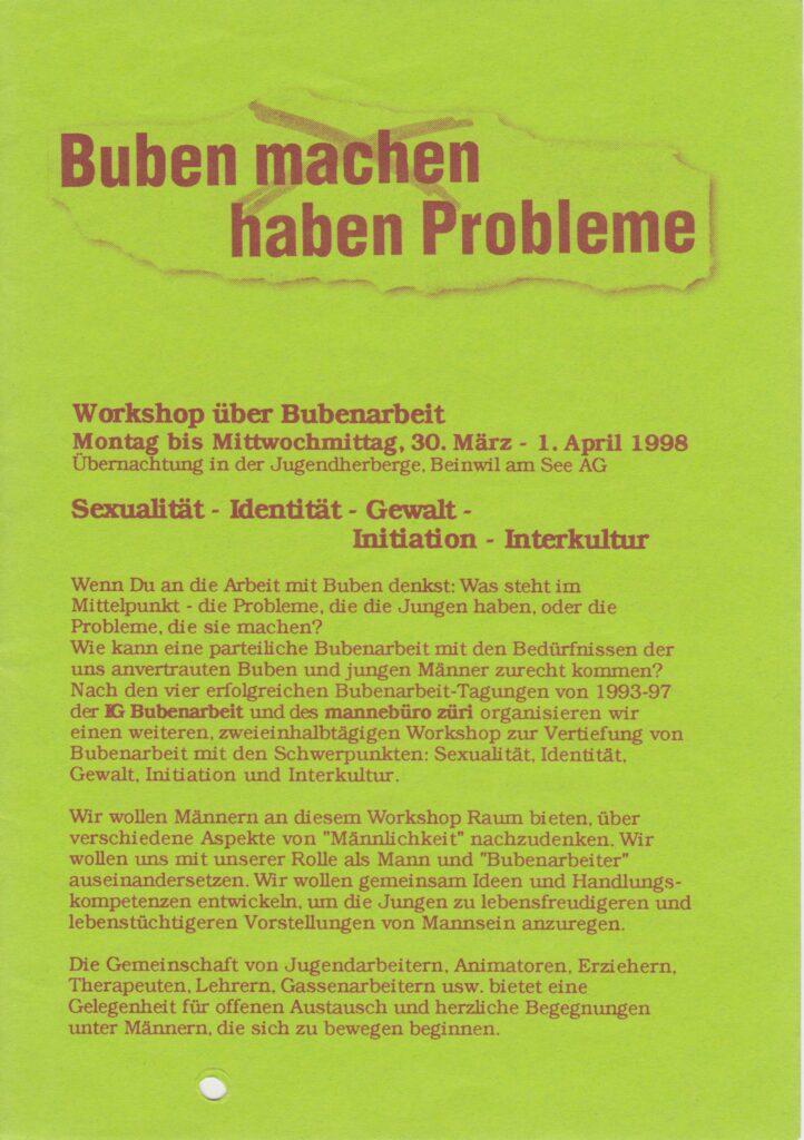 Labor_Maennlichkeit_AusschreibungFachtagungBubenarbeit1998